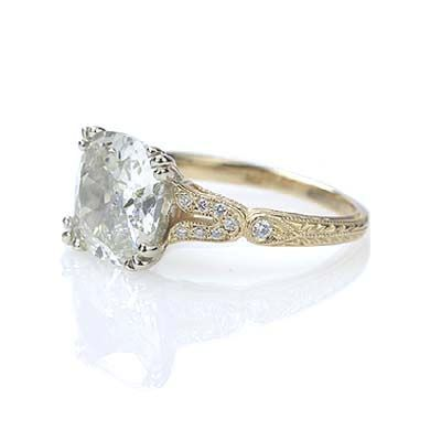 Replica Art Deco Engagement Ring with Vintage Cushion cut diamond 3.27 carats