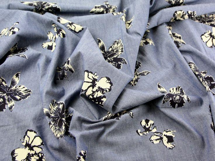 Floral Print Cotton Chambray Dress Fabric Blue, Navy & Cream | Fabric | Dress Fabrics | Minerva Crafts