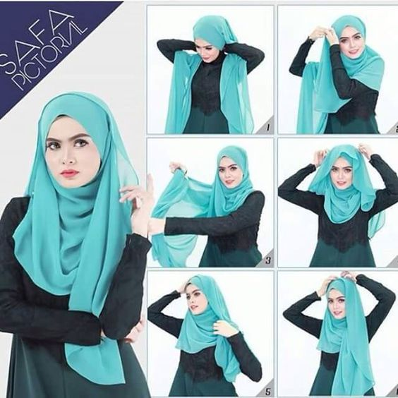 Beautiful Blue Full Coverage Hijab Tutorial