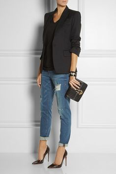 Wear a black blazer and navy destroyed boyfriend jeans for an effortless kind of elegance. Why not introduce black leather pumps to the mix for an added touch of style?   Shop this look on Lookastic: https://lookastic.com/women/looks/blazer-v-neck-t-shirt-boyfriend-jeans-pumps-clutch-bracelet/13405   — Black V-neck T-shirt  — Black Blazer  — Black Bracelet  — Black Woven Leather Clutch  — Navy Ripped Boyfriend Jeans  — Black Leather Pumps