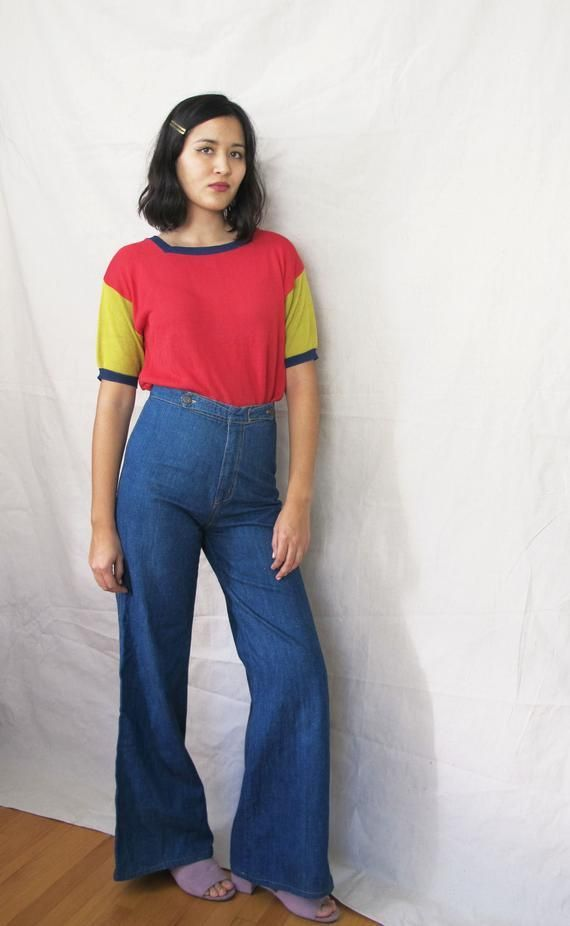 Vintage 70er Jahre Jeans 27 Hoch Taillierte Jeans Hose Mit