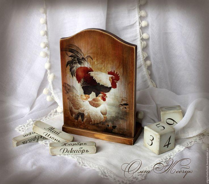 """Купить Вечный календарь """" С годом Петуха """" - коричневый, календарь ручной работы"""