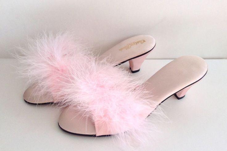 Vintage Pink Satin Maribou 50s 60s Bedroom Slippers Pinup Heels 8 Deadstock
