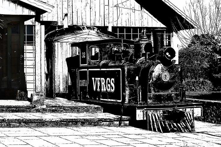 Trem e Estação Histórica de Canela - RS. Tratamento de foto como em PhotoShop - Tratamento Desenho traço nanquim.