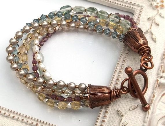7 Strand Glass Pearl and Crystal Bracelet in Multi Colors