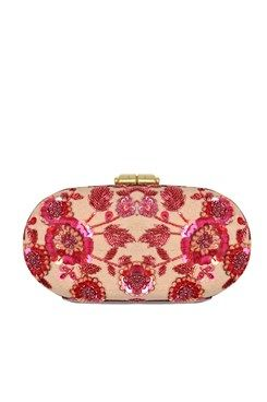 Clutches, Hand crusted leather minaudière clutch Featuring a pink oval box minaudiere clutch in canvas with red zardosi hand crusted in floral pattern. It has round metal push lock on top and detachable sling chain Shop Now at www.carmaonlinesh... #carma #carmaonlineshop #LeatherZardoziCapsule #clutch #AccessoriesBySabyasachi #shopnow #onlineshopping