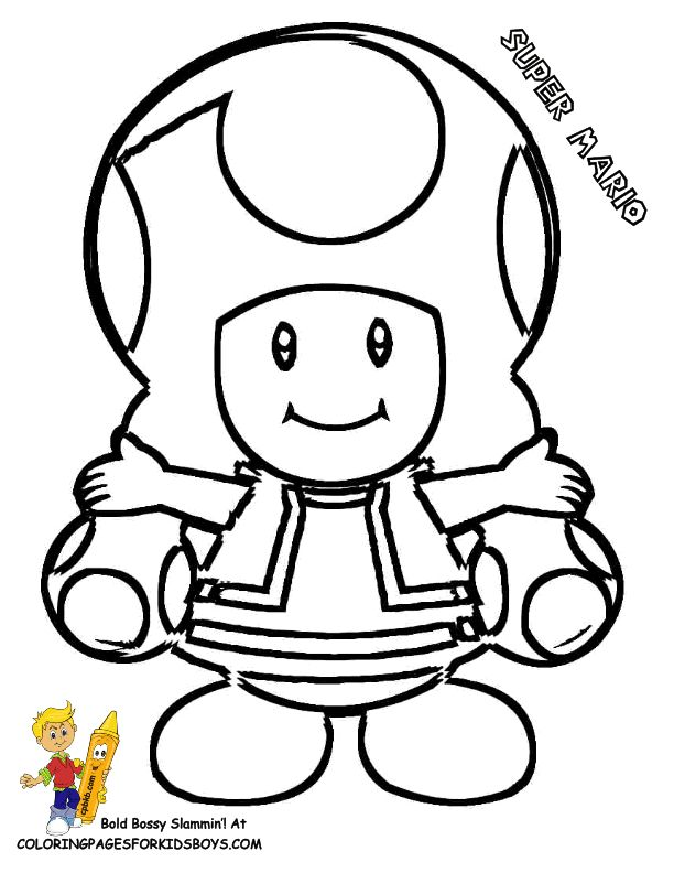 Super Mario Bros Colouring of Toad
