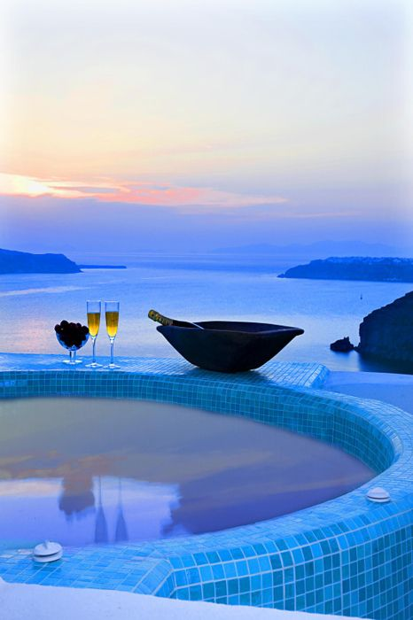 Blue Dusk Spa, Santorini, Greece : Santorini Greece, Romantic Places, Beautiful, Summer Rolls, Hot Tubs, Blue Angel, Greek Islands, Heavens, Spa