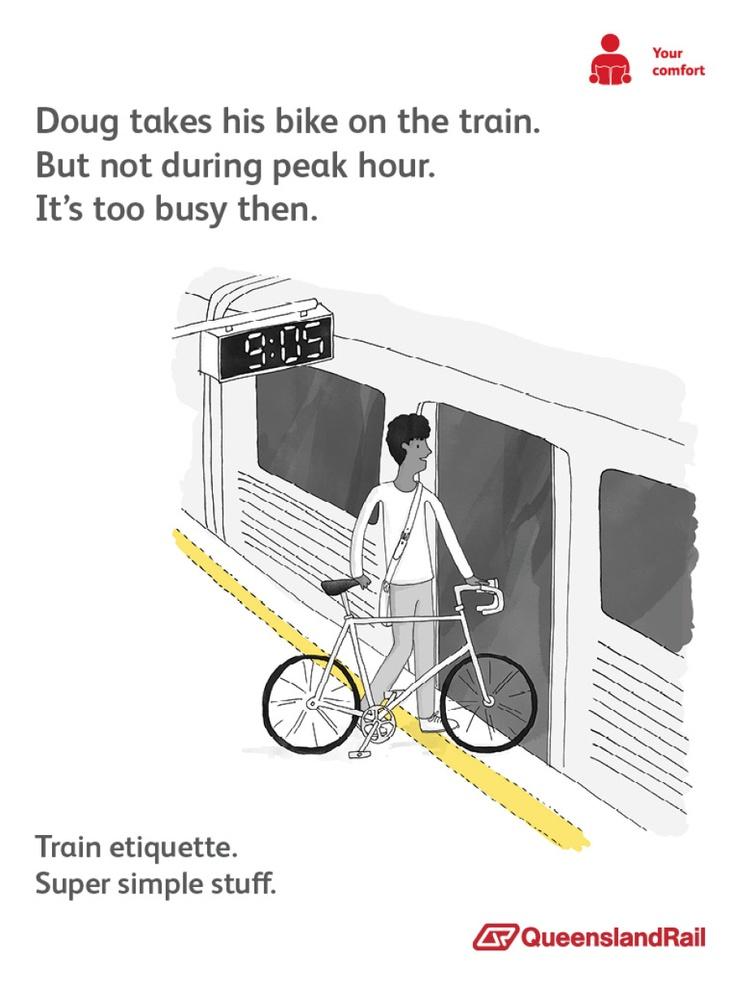 Queensland Rail - Train etiquette bikes on trains poster | For new ...