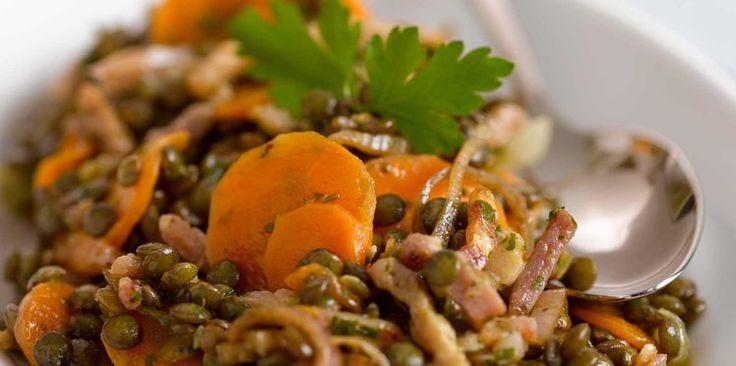 Salade de lentilles aux carottes et lardons