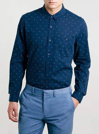 Navy Long Sleeve Smart Shirt