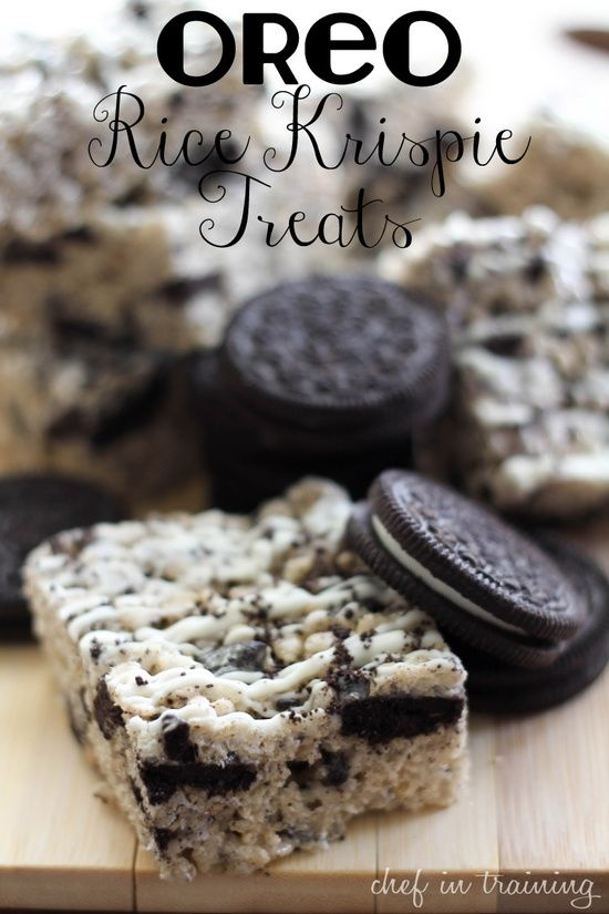 Ingredients:  6 cups Rice Krispie Cereal 20 Regular Oreos chopped 5 cups mini marshmallows 3 Tbsp. butter white chocolate for drizzle optional  Directions:  1. Spray a 9x13 dish with cooking spray.  2. In a large bowl, pour measured Ric