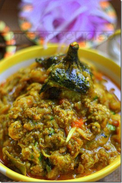 Begun pora mashed with keema (Eggplant with ground beef) ~ Bengali recipe