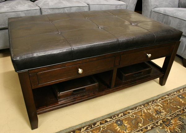 Coffee table ottoman combo roselawnlutheran Brown leather ottoman coffee table