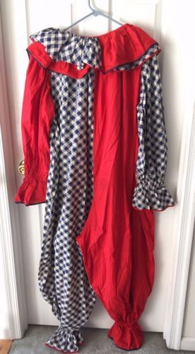 VTG-Vintage-Harlequin-Jester-Clown-Suit-with-Ruffle-Collar-Circus-Costume-5ft