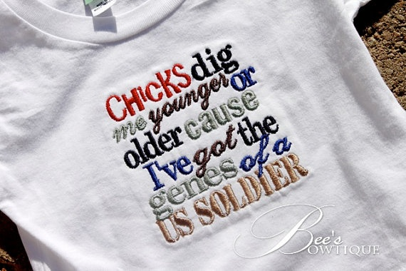 So stinkin cute!  CUSTOMIZE your own shirt boys or girls military by BeesBowtique, $24.95