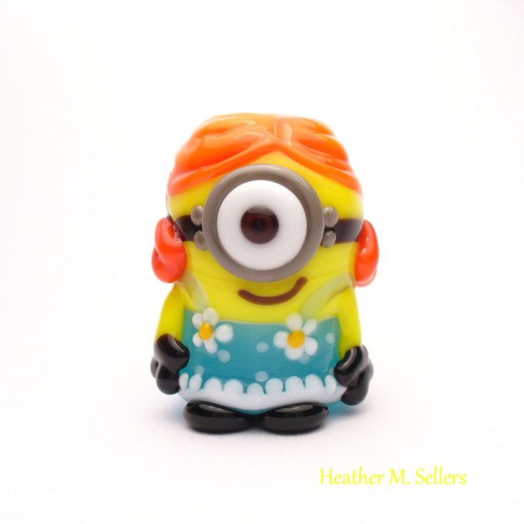 Stuart is all dressed up.  Love the red hair!  A minion lampwork glass bead by Heather Sellers Art Glass #minion
