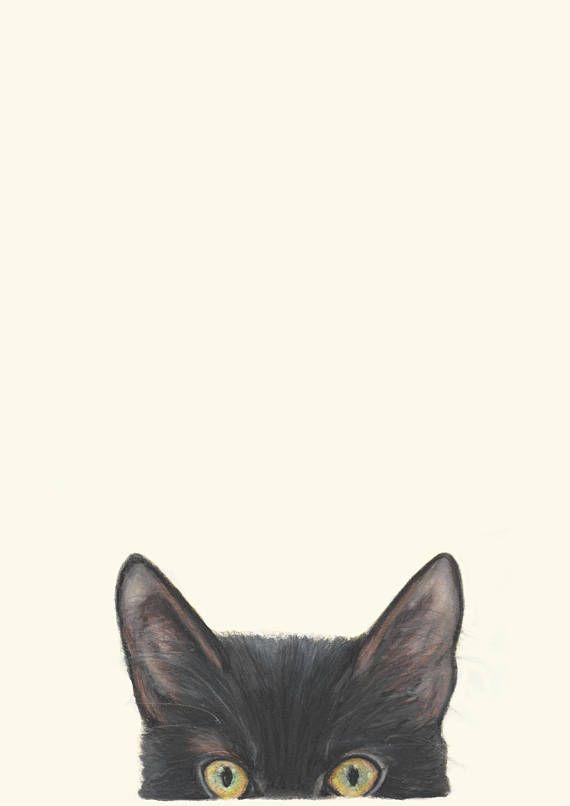 Peeking Cat  Peekaboo Kitty Cat Pussy Cat  Cat Art Drawing