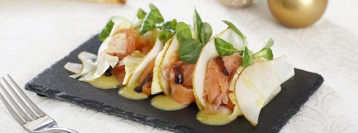 Carpaccio di salmone con ananas, pera e aceto balsamico di Modena