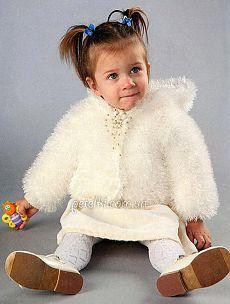 Шубка из травки для девочки 1-2 лет. Описание вязания