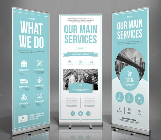 Roll up banner - bedrijfsvoorstelling voor beurs of event - drie-delig