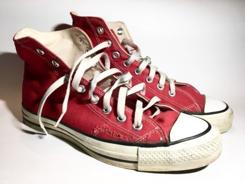 3485a7b053f5 Men s vintage 1980s Red CONVERSE Chuck Taylor All Star Hi-Top Sneakers 8  1 2 USA