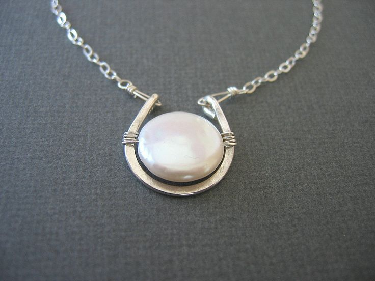 Sterling Silver Necklace, Coin Pearl Necklace, mother's day jewelry. $38.00, via Etsy.