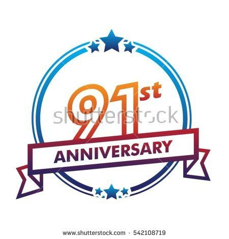 blue circle and star with purple ribbon 91st anniversary design vector