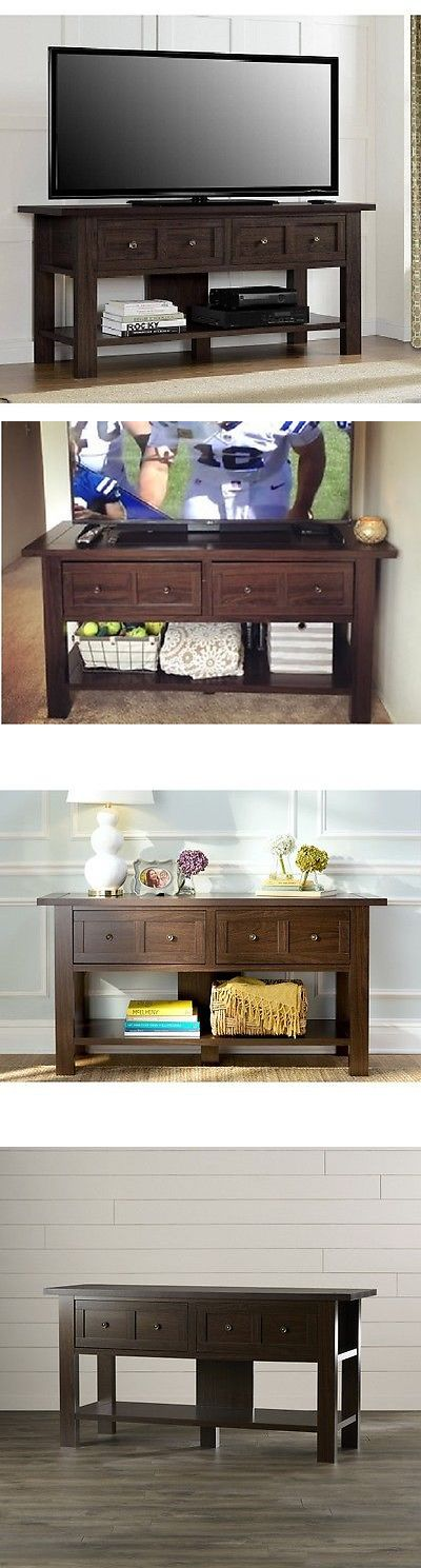 Sideboards and Buffets 183322: Rustic Console Sideboard Table 55 Tv Stand 2 Drawer Open Shelf Wood Espresso -> BUY IT NOW ONLY: $215.88 on eBay!