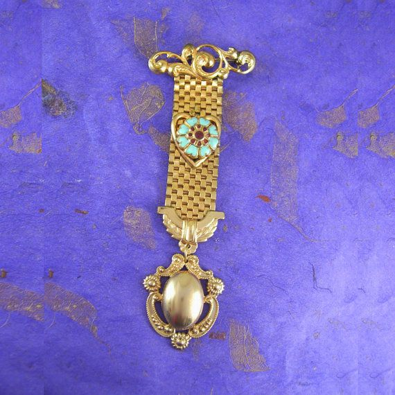 ANtique watch fob Enamel turquoise Heart  fancy by vintagesparkles