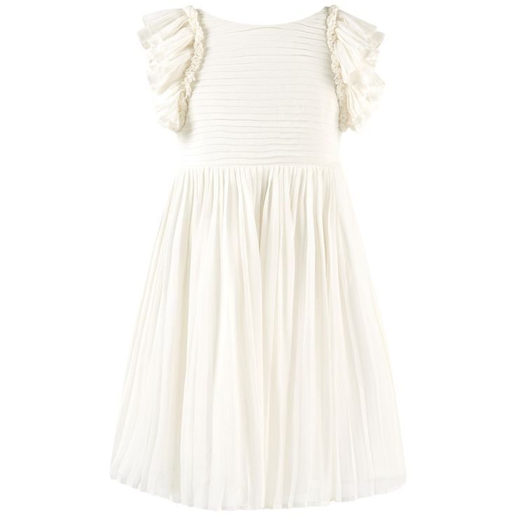 Silk crepe Fine cotton lining Pleated voile Light and flowing cut Round neckline on the front Square neckline in the back Sleeveless Flounces on the shoulders Invisible zipper on the side Pleated effect - $ 518.70