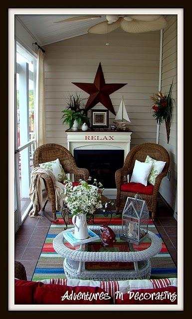 pretty porch..: Decor Ideas, Screens Porches, Pretty Porches, Fireplaces, Porches Ideas, House, Great Ideas, Front Porches, Fire Places