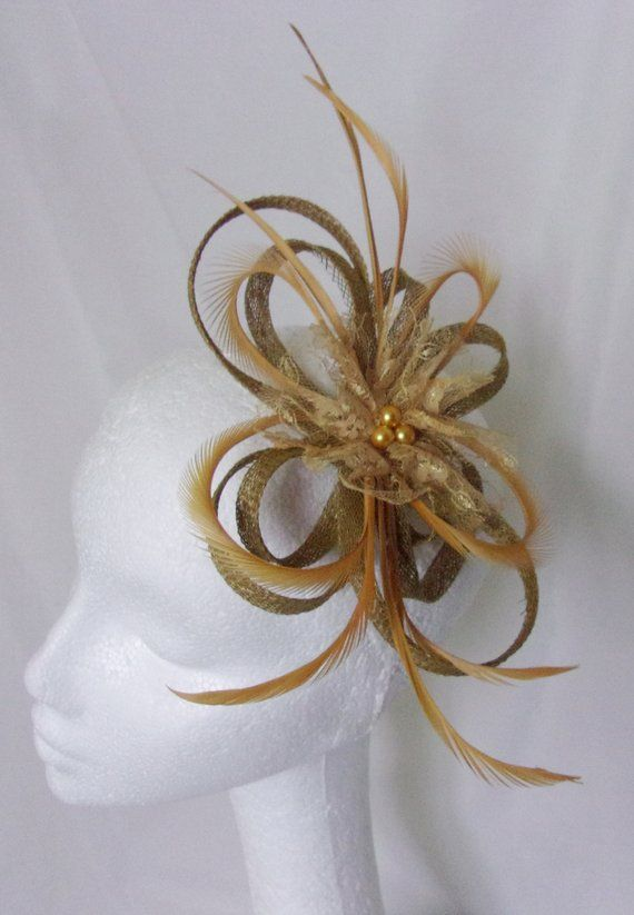 5ccebab825cc Mustard Yellow Sinamay Fascinator - Chartreuse Feather and Pearl Loop Clip  Headpiece - Ready Made