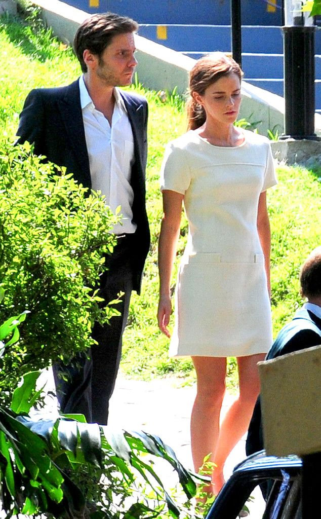 Emma Watson Works a Chic Mini Dress On Movie Set After Breaking Up With Boyfriend Matthew Janney  Emma Watson, Daniel Bruhl