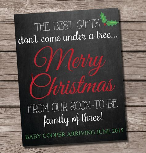 Christmas pregnancy announcement chalkboard, chalkboard pregnancy announcement, christmas pregnancy card, holiday pregnancy announcement by SweetfaceCelebration on Etsy https://www.etsy.com/listing/208204741/christmas-pregnancy-announcement