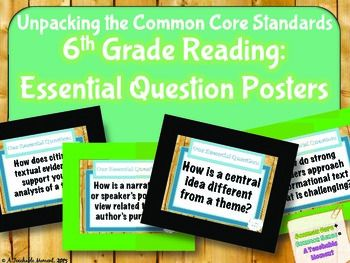 These organizational posters have helped me get better oriented with the expectations of Common Core standards for 6th grade ELA. By breaking down each standard and examining key skills and vocabulary, I have developed corresponding essential questions at a 6th grade level.