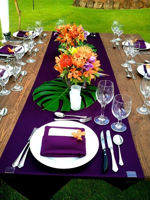 57 Cheerful Tropical Wedding Table Settings | HappyWedd.com