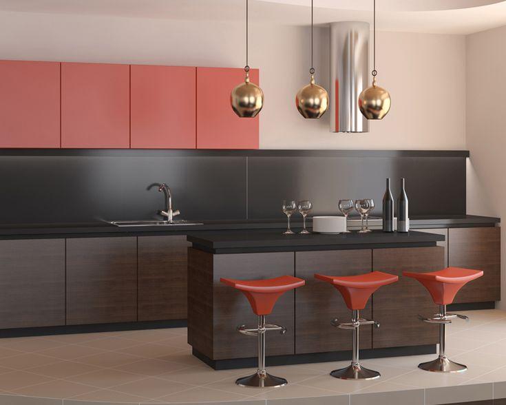 Black matte backpainted glass backsplash, matte red backpainted glass cabinet door inserts on AF010 profile.
