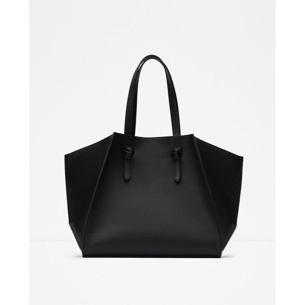 Zara Geometric Tote (1,905 PHP) ❤ liked on Polyvore featuring bags, handbags, tote bags, zara handbags, zara purse, tote hand bags, zara tote bag and tote bag purse