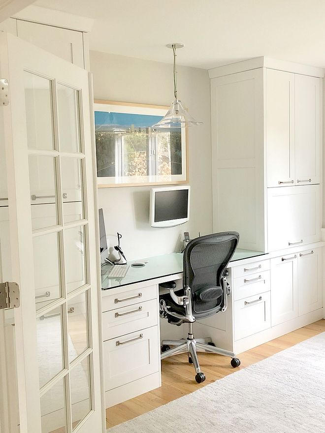 Home Office Renoavtion In The Office Space We Designed A Desk And Floor To Ceiling Cabinets Floor To Ceiling Cabinets Family Room Decorating Home Office Design