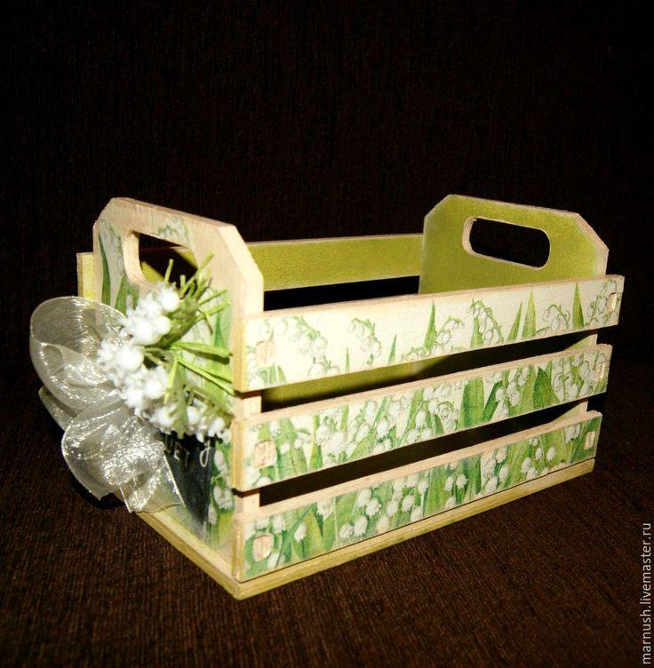 """Купить Ящик для хранения """"Лесные ландыши"""" - Декупаж, салатовый, подарок, предмет интерьера, хранение"""