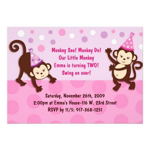 19 best monkey birthday invitations for girls images on pinterest party monkeys girl monkey birthday invitation filmwisefo Choice Image