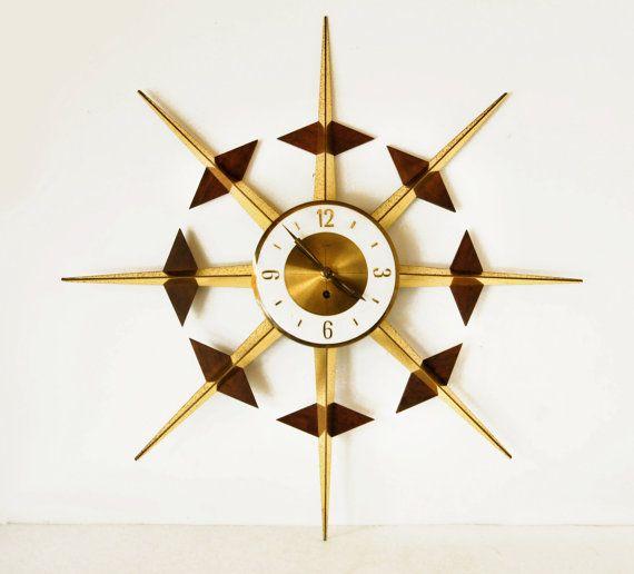 starburst clock 24 mid century modern teak welby by