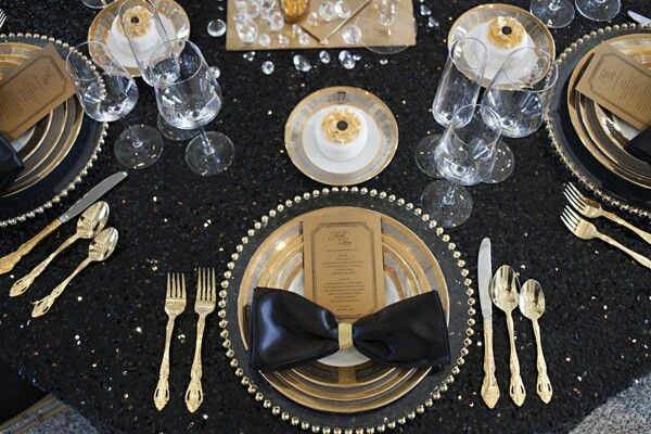Table Setting Black White Gold Hostess With The