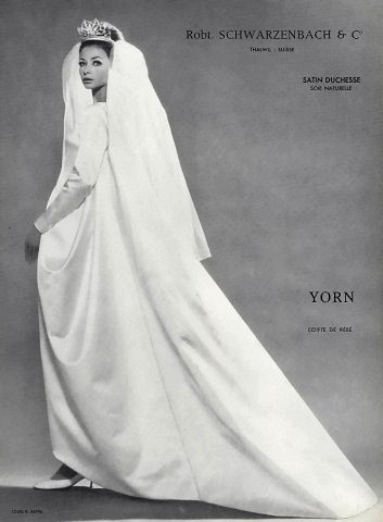 Gorgeous wedding gown in satin duchesse by Yorn, photo by Louis Astre, 1962
