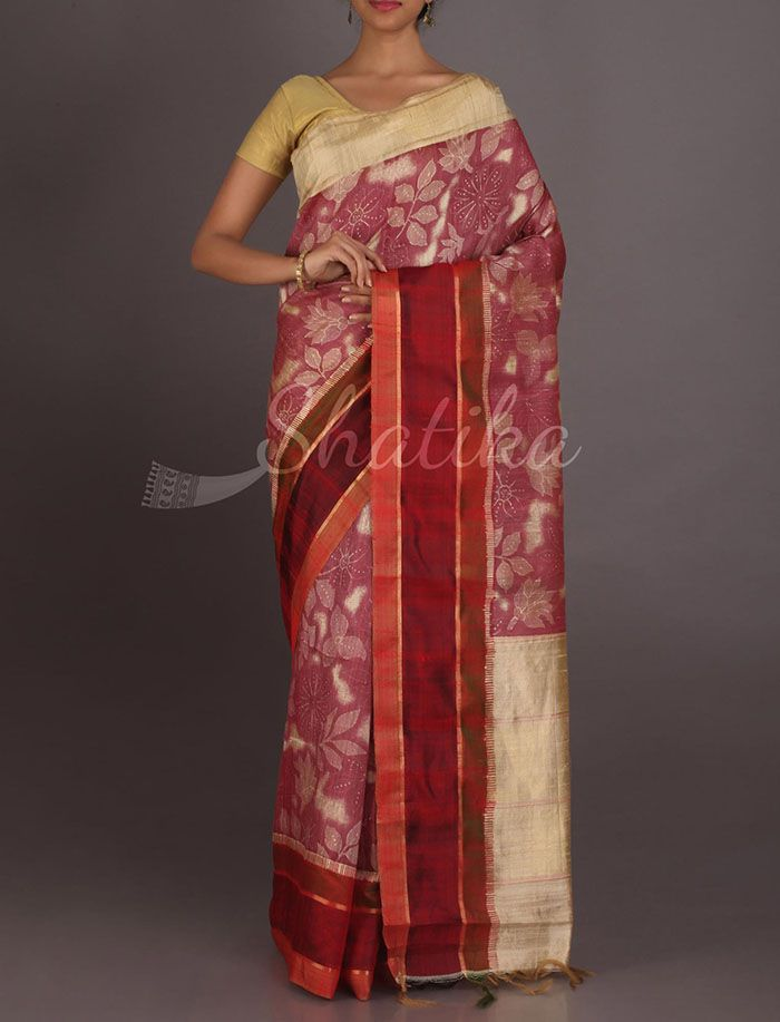 Rachal Blossoming Leaves And Flowers Exclusive Hand Painted Silk Saree