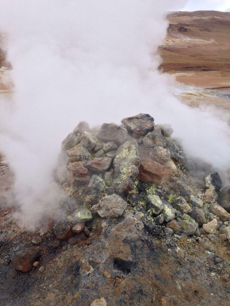 Sulphurous steamy rocks