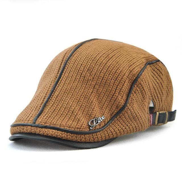 fa9379b0bf4 Fibonacci knitted faux leather patchwork beret hat brand quality flatcap  vintage newsboy cap