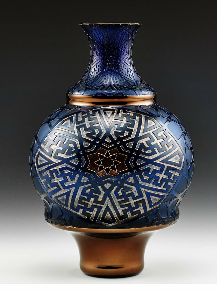 "Yıldız (star) Vase from the Zevk-i Selim Collection of Paşabahçe. Designed with the geometrical patterns of the art of ""kündekari"" ( the art of woodworking) and painted and gilded in platinum."