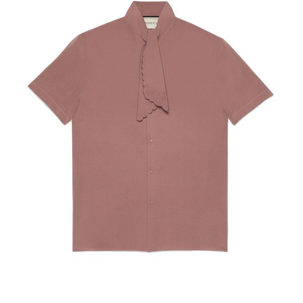 Gucci Silk Short Sleeve Cambridge Shirt (19.302.650 VND) ❤ liked on Polyvore featuring men's fashion, men's clothing, men's shirts, pink, pastel mens clothing, mens silk shirts, gucci mens shirts, gucci mens clothing and mens short sleeve shirts